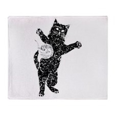 Distressed Cat And Yarn Silhouette Throw Blanket