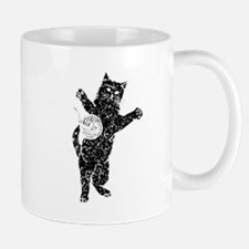 Distressed Cat And Yarn Silhouette Mugs