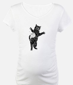 Distressed Cat And Yarn Silhouette Shirt