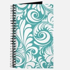 Blue Turquoise & White Swirls Journal