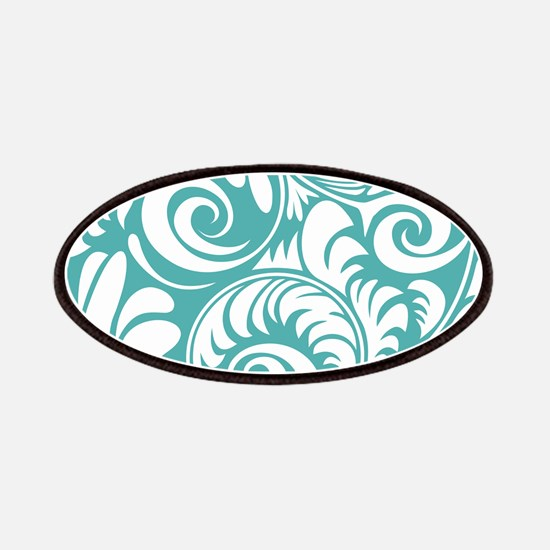 Blue Turquoise & White Swirls Patch