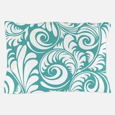 Blue Turquoise & White Swirls Pillow Case