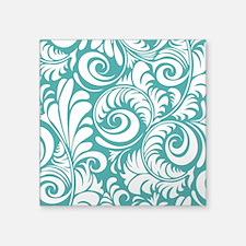 "Blue Turquoise & White Swir Square Sticker 3"" x 3"""