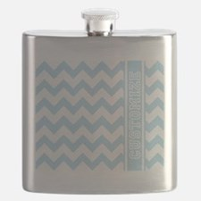 Customized Baby Blue Chevron Flask