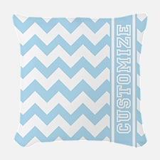 Customized Baby Blue Chevron Woven Throw Pillow