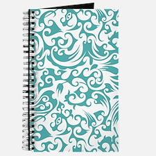 Blue Turquoise & White Swirls 2 Journal