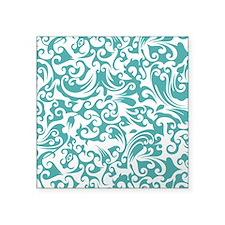 "Blue Turquoise & White Swi Square Sticker 3"" x 3"""