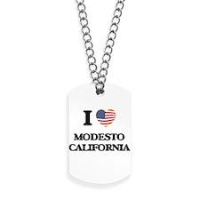 I love Modesto California USA Design Dog Tags