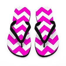 Chevron Fluorescent Hot Pink Flip Flops
