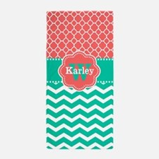 Coral Teal Chevron Quatrefoil Personalized Beach T