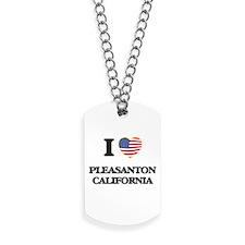 I love Pleasanton California USA Design Dog Tags