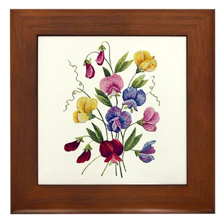 SWEET PEAS Framed Tile