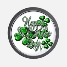Happy St Patricks Day Shamrocks Wall Clock
