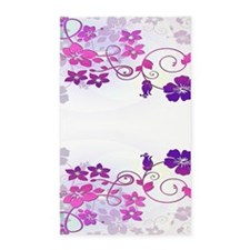 Purple Hibiscus Flowers Area Rug