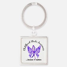 Childhood Stroke Butterfly 6.1 Square Keychain