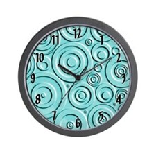 Teal Circles Wall Clock
