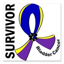 "Bladder Cancer Survivor Square Car Magnet 3"" x 3"""