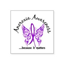 """Anorexia Butterfly 6.1 Square Sticker 3"""" x 3"""""""