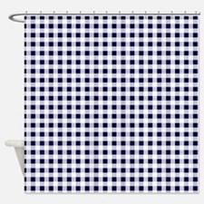 Blue Gingham Pattern Shower Curtain