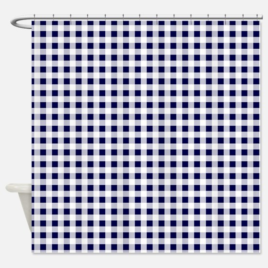 Blue Gingham Pattern Shower Curtain