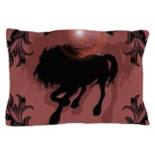 Horse silhouette in black Pillow Case