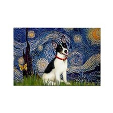 Starry Night & Rat Terrier Rectangle Magnet
