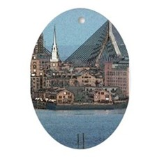 Artistic Zakim Bridge Oval Ornament