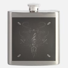Elegant clef with floral elements Flask