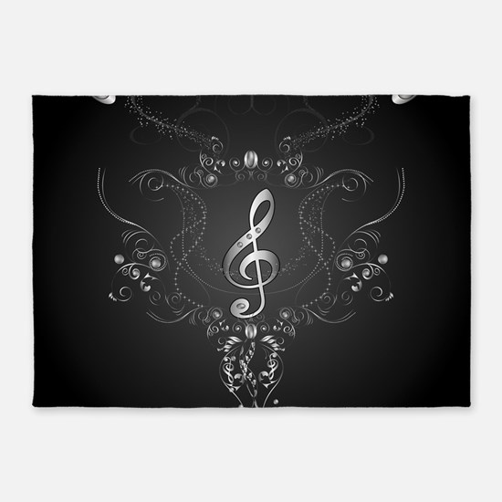 Elegant clef with floral elements 5'x7'Area Rug