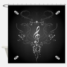 Elegant clef with floral elements Shower Curtain