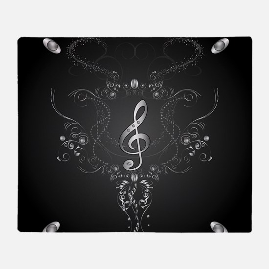 Elegant clef with floral elements Throw Blanket