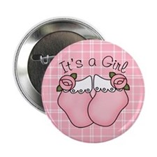 """It's A Girl Pink Bootie 2.25"""" Button (10 pack)"""
