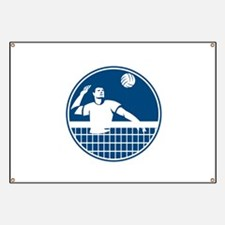 Volleyball Player Spiking Ball Circle Icon Banner