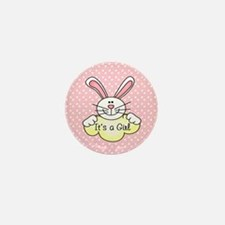 It's A Girl Pink Bunny Mini Button