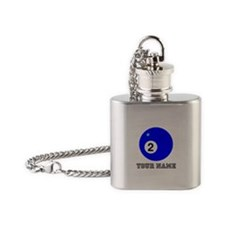Blue Two Pool Ball (Custom) Flask Necklace