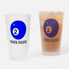 Blue Two Pool Ball (Custom) Drinking Glass