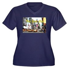 Times Square Women's Plus Size V-Neck Dark T-Shirt