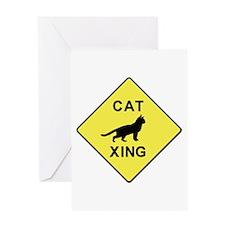 Cat Crossing Greeting Card