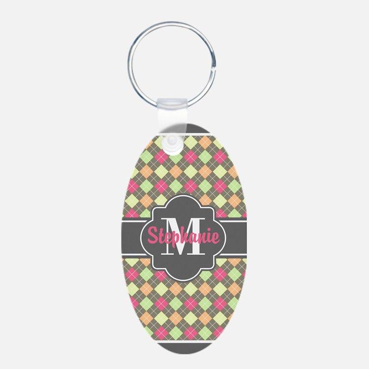 Gray Trim Argyle Custom Mon Keychains