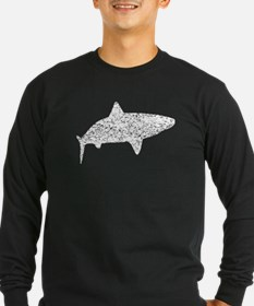 Distressed Tiger Shark Silhouette Long Sleeve T-Sh
