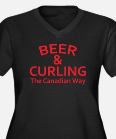 Beer and Cur Women's Plus Size V-Neck Dark T-Shirt