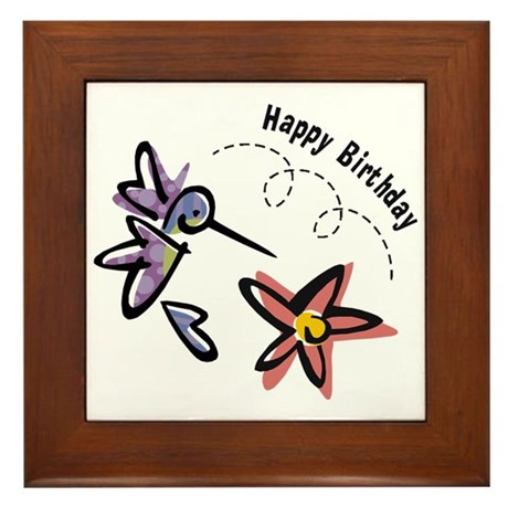 Hummingbird Birthday Framed Tile