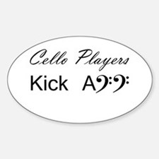 Cello Players Oval Stickers