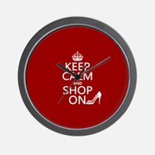 Keep Calm and Shop On Wall Clock