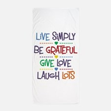 Live Simply Affirmations Beach Towel