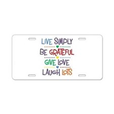 Live Simply Affirmations Aluminum License Plate
