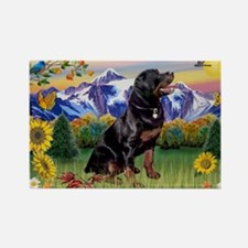 Rottie in Mountain Country Rectangle Magnet