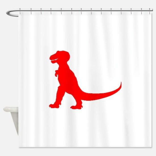 Tyrannosaurus Rex Silhouette (Red) Shower Curtain