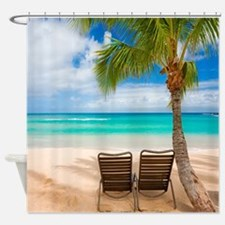 Sittin' Easy Tropical Beach Shower Curtain