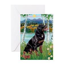 Birches & Rottweiler Greeting Card